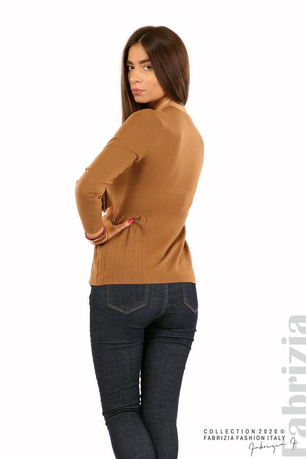 Блуза със странично плисе кафяв 4 fabrizia
