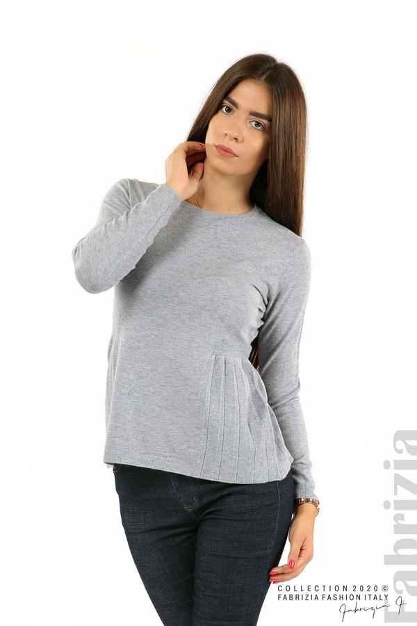 Блуза със странично плисе сив 1 fabrizia