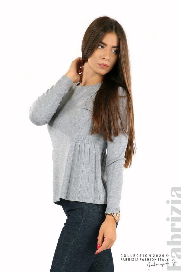 Блуза със странично плисе сив 2 fabrizia