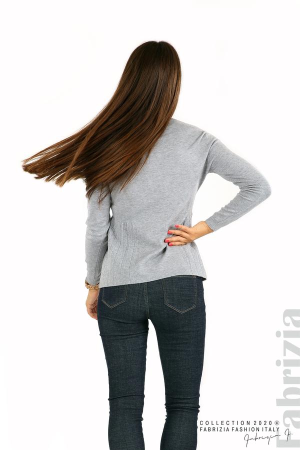 Блуза със странично плисе сив 5 fabrizia