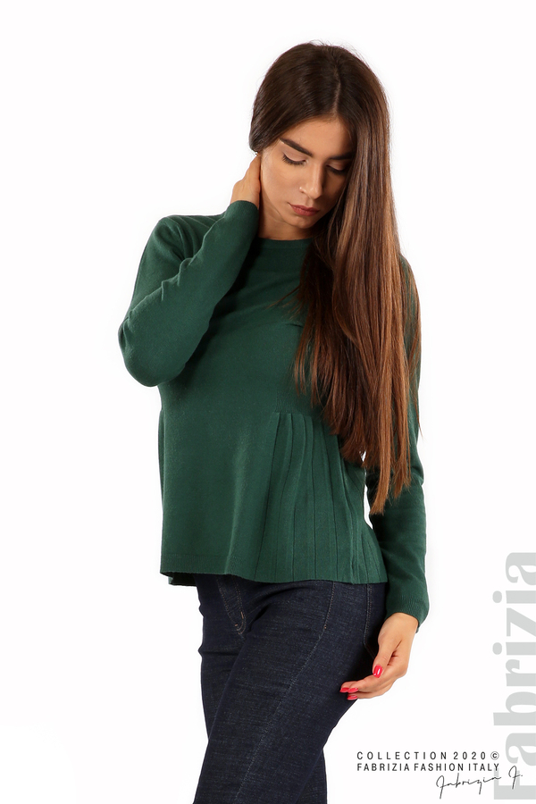 Блуза със странично плисе т.зелен 2 fabrizia