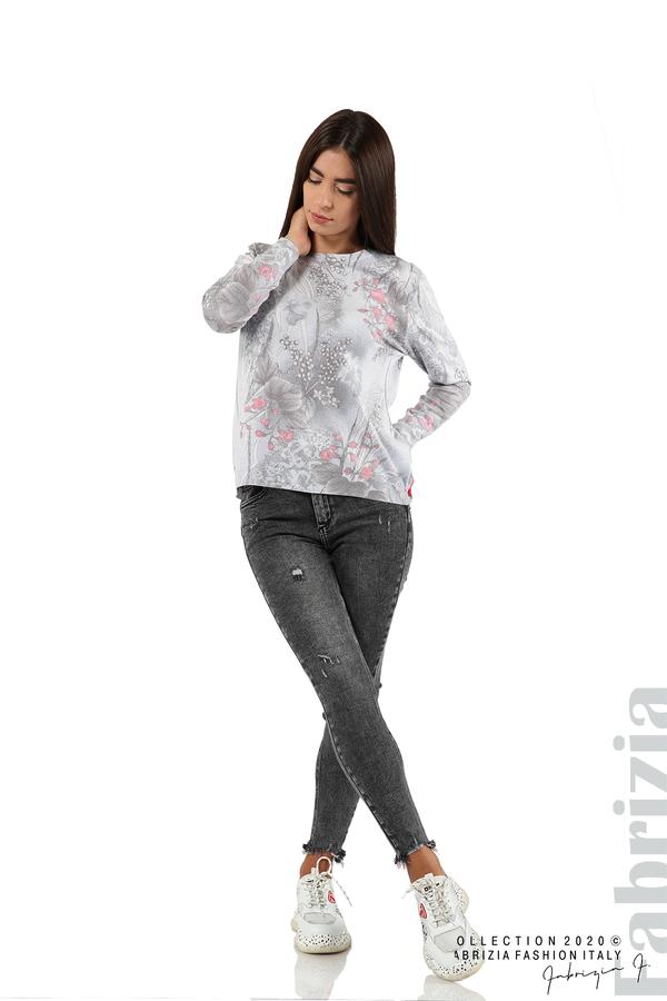 Блуза с флорални елементи-сив-3