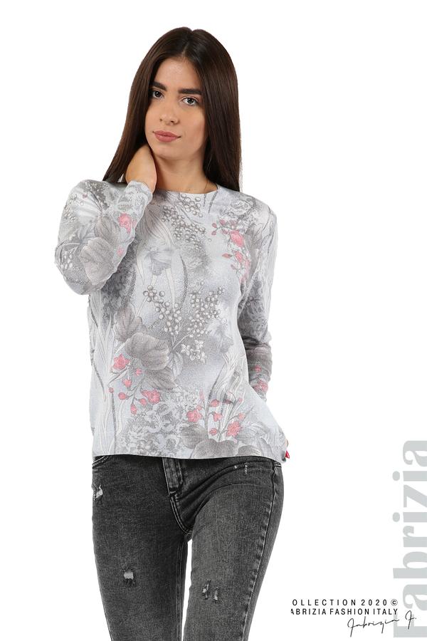 Блуза с флорални елементи-сив-1