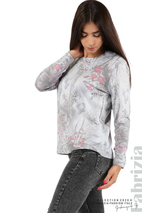 Блуза с флорални елементи-сив-2