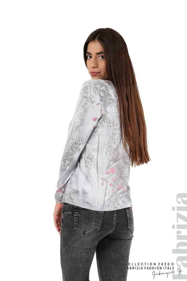 Блуза с флорални елементи-сив-5