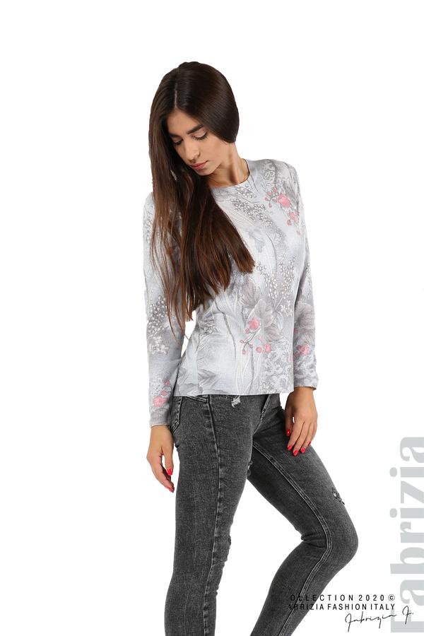 Блуза с флорални елементи-сив-4
