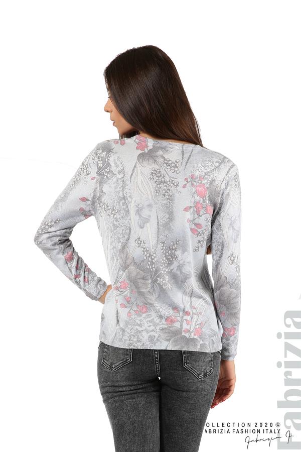 Блуза с флорални елементи-сив-6