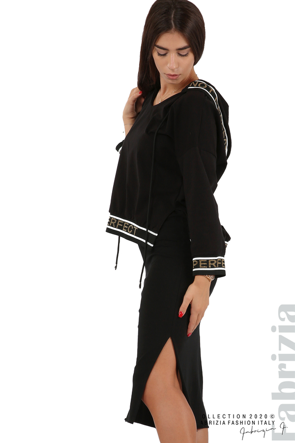 Комплект рокля и блуза с качулка черен 3 fabrizia