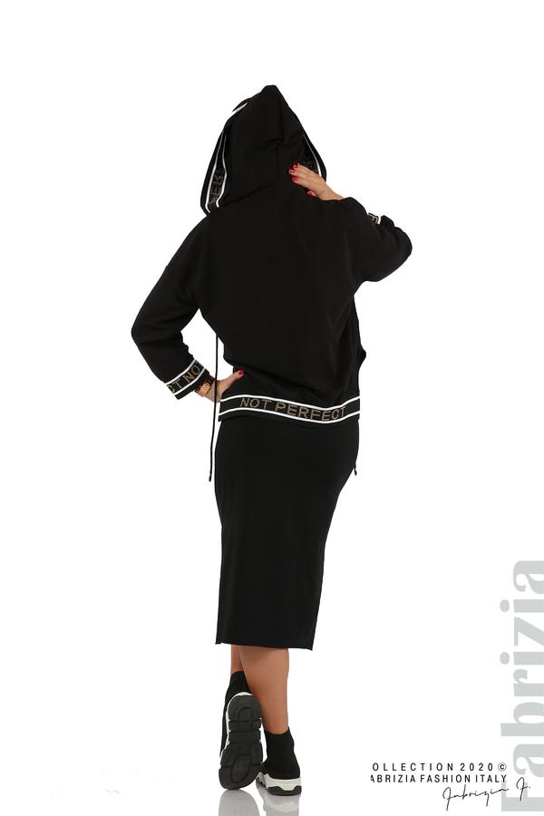 Комплект рокля и блуза с качулка черен 10 fabrizia