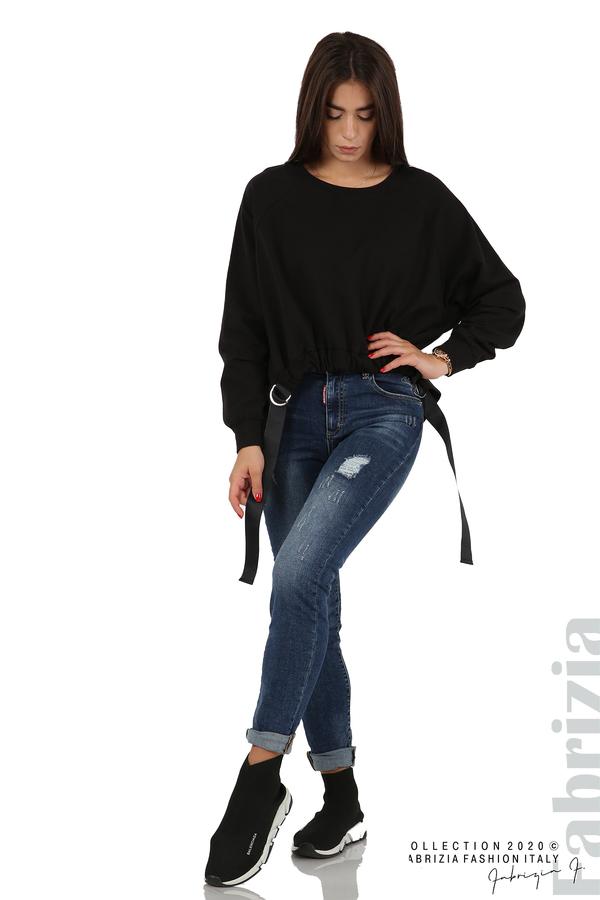 Широка блуза с ластик и декоративни ленти черен 3 fabrizia