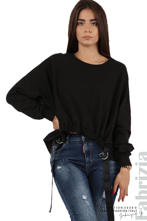 Широка блуза с ластик и декоративни ленти черен 2 fabrizia