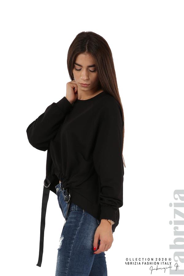 Широка блуза с ластик и декоративни ленти черен 1 fabrizia