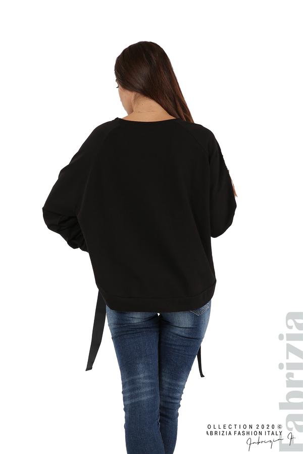 Широка блуза с ластик и декоративни ленти черен 6 fabrizia
