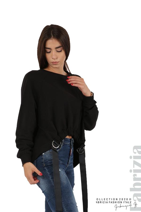 Широка блуза с ластик и декоративни ленти черен 4 fabrizia