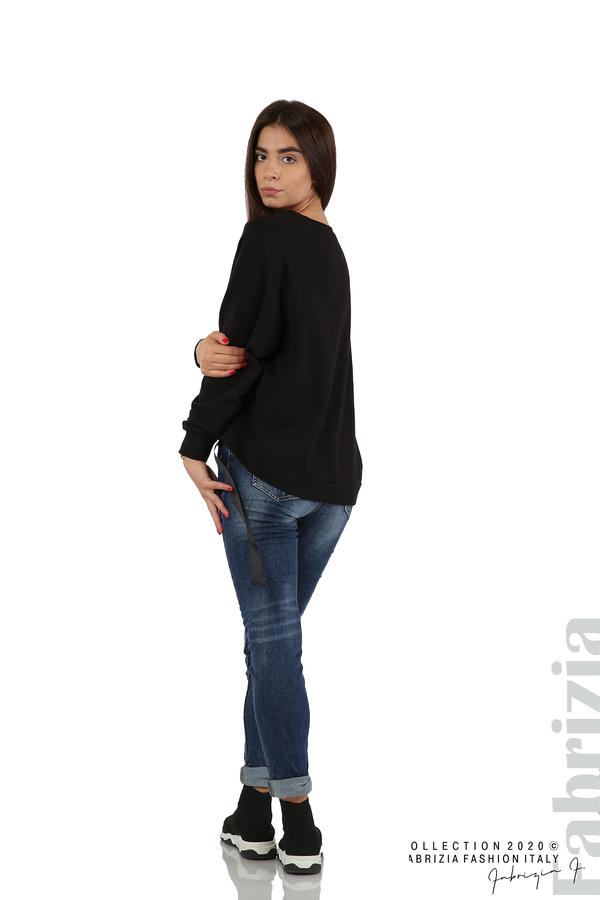 Широка блуза с ластик и декоративни ленти черен 5 fabrizia