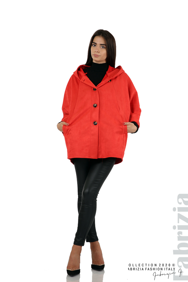 Свободно палто с качулка и 3/4 ръкави червен 3 fabrizia