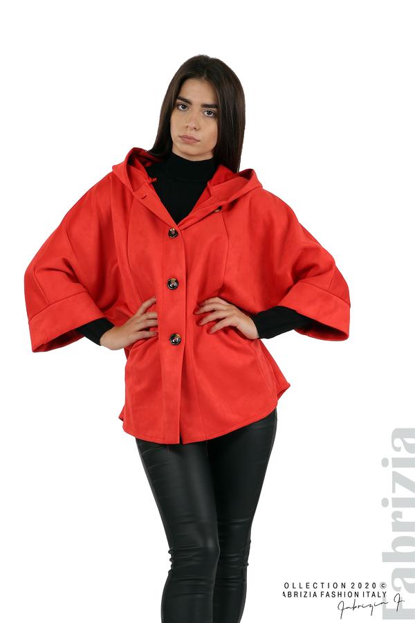 Свободно палто с качулка и 3/4 ръкави червен 4 fabrizia