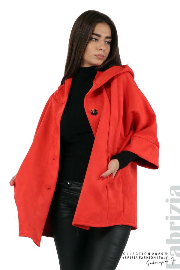 Свободно палто с качулка и 3/4 ръкави червен 2 fabrizia