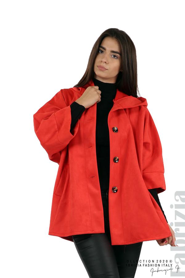 Свободно палто с качулка и 3/4 ръкави червен 1 fabrizia