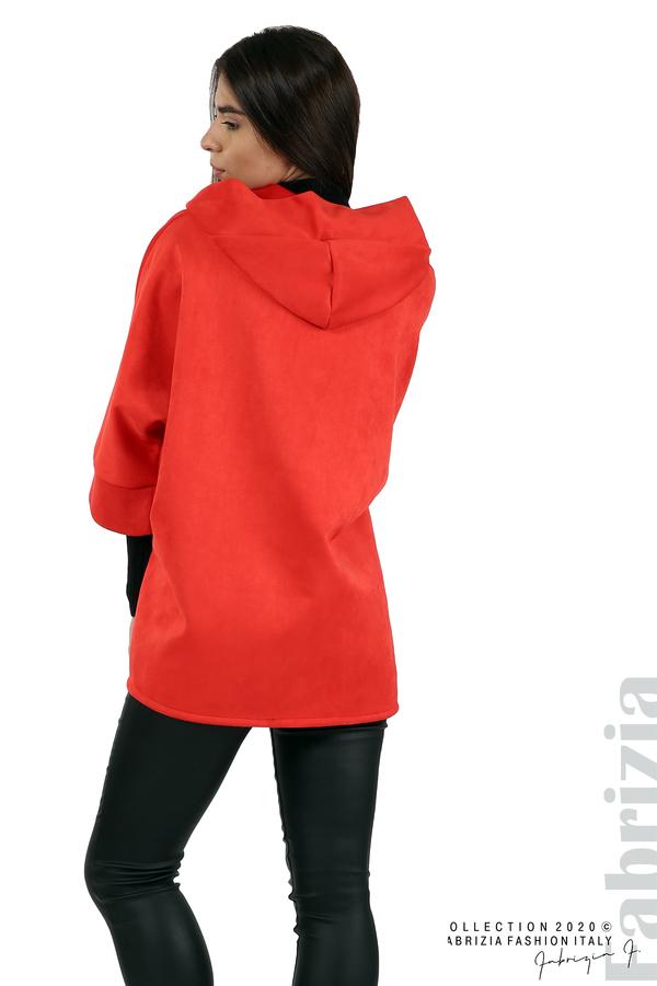 Свободно палто с качулка и 3/4 ръкави червен 5 fabrizia