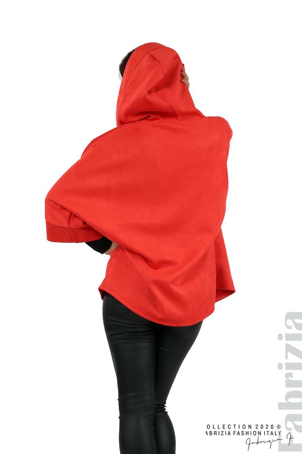 Свободно палто с качулка и 3/4 ръкави червен 6 fabrizia