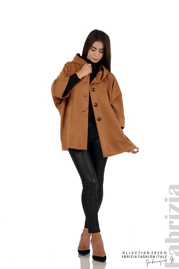 Свободно палто с качулка и 3/4 ръкави кафяв 3 fabrizia