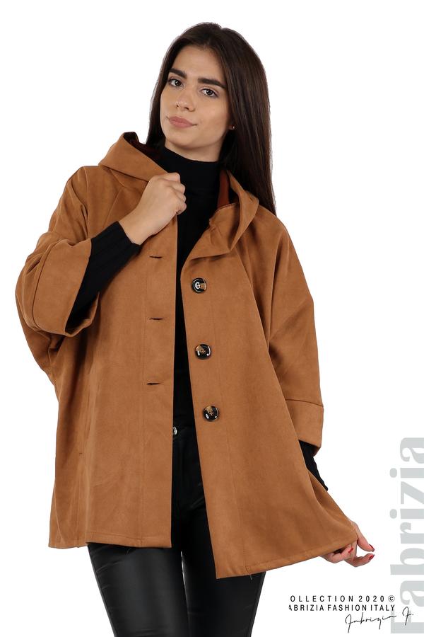 Свободно палто с качулка и 3/4 ръкави кафяв 4 fabrizia