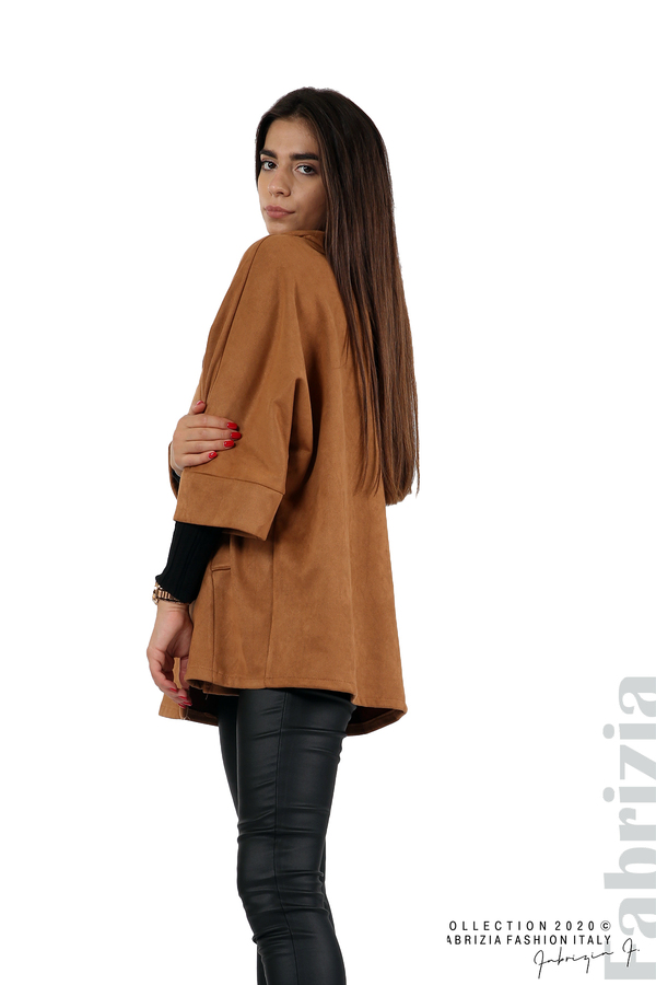 Свободно палто с качулка и 3/4 ръкави кафяв 5 fabrizia