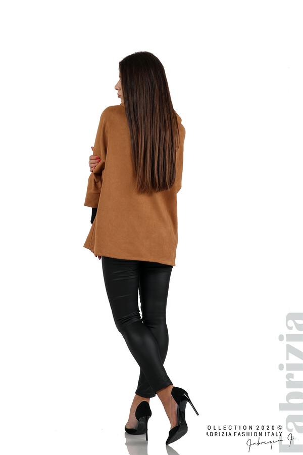 Свободно палто с качулка и 3/4 ръкави кафяв 6 fabrizia