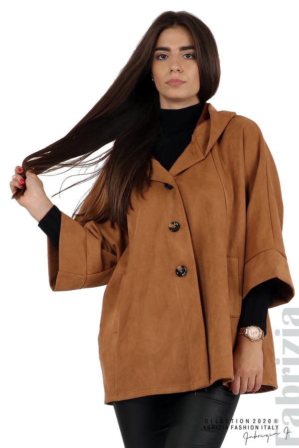 Свободно палто с качулка и 3/4 ръкави кафяв 2 fabrizia