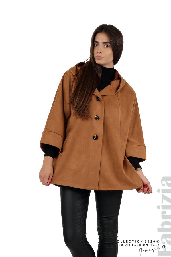Свободно палто с качулка и 3/4 ръкави кафяв 1 fabrizia