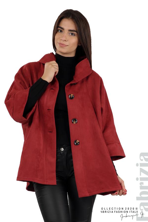 Свободно палто с качулка и 3/4 ръкави бордо 2 fabrizia