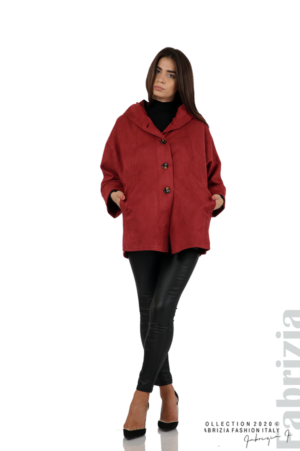Свободно палто с качулка и 3/4 ръкави бордо 3 fabrizia