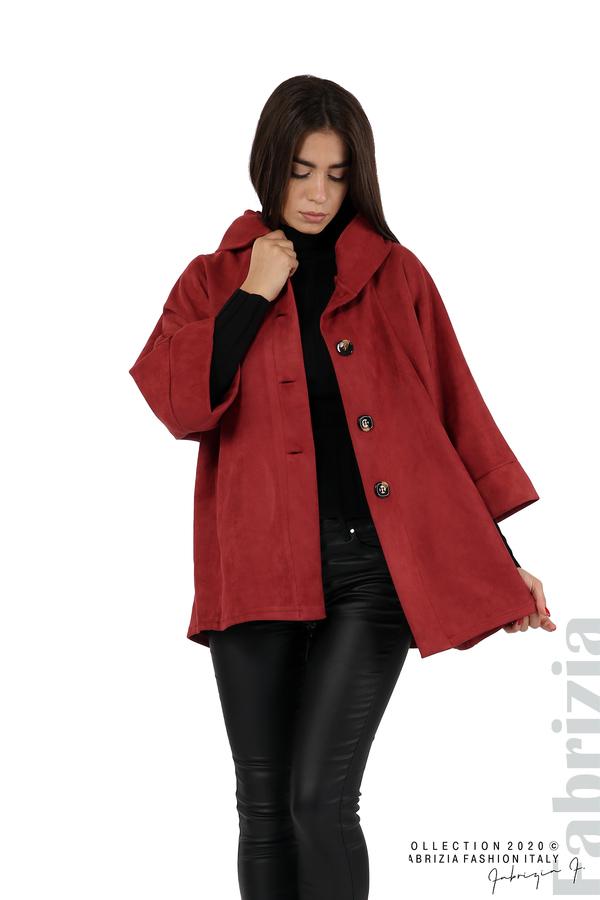 Свободно палто с качулка и 3/4 ръкави бордо 1 fabrizia