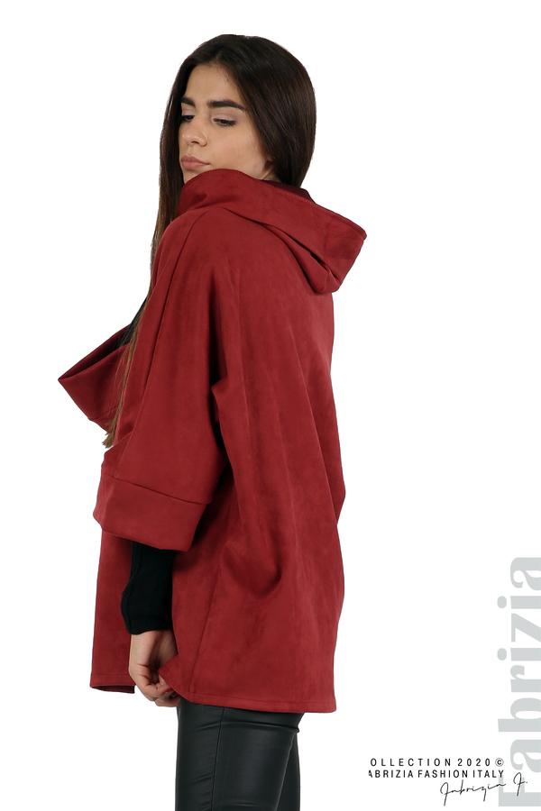 Свободно палто с качулка и 3/4 ръкави бордо 4 fabrizia