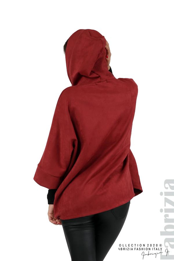 Свободно палто с качулка и 3/4 ръкави бордо 6 fabrizia
