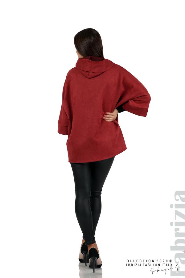 Свободно палто с качулка и 3/4 ръкави бордо 5 fabrizia
