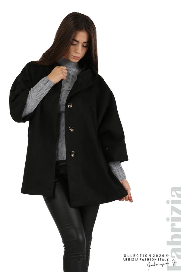 Свободно палто с качулка и 3/4 ръкави черен 3 fabrizia