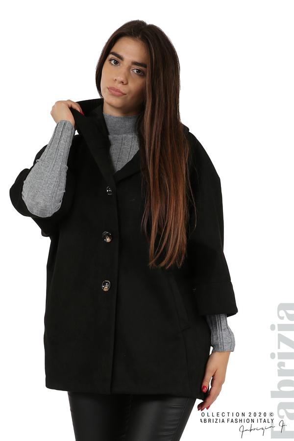 Свободно палто с качулка и 3/4 ръкави черен 4 fabrizia