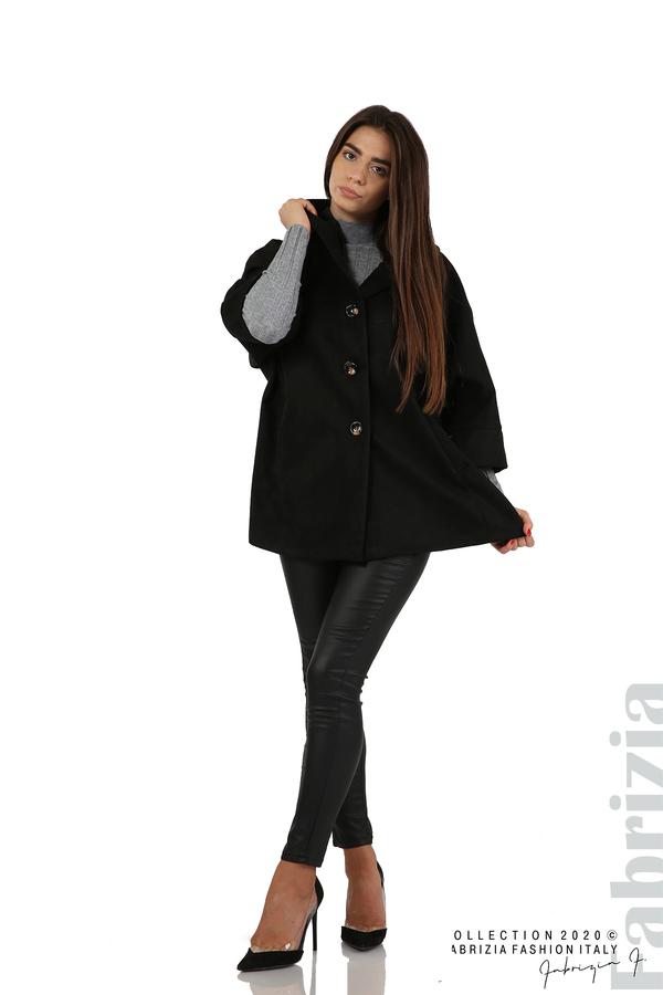 Свободно палто с качулка и 3/4 ръкави черен 5 fabrizia