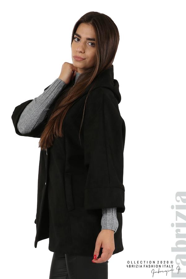 Свободно палто с качулка и 3/4 ръкави черен 2 fabrizia