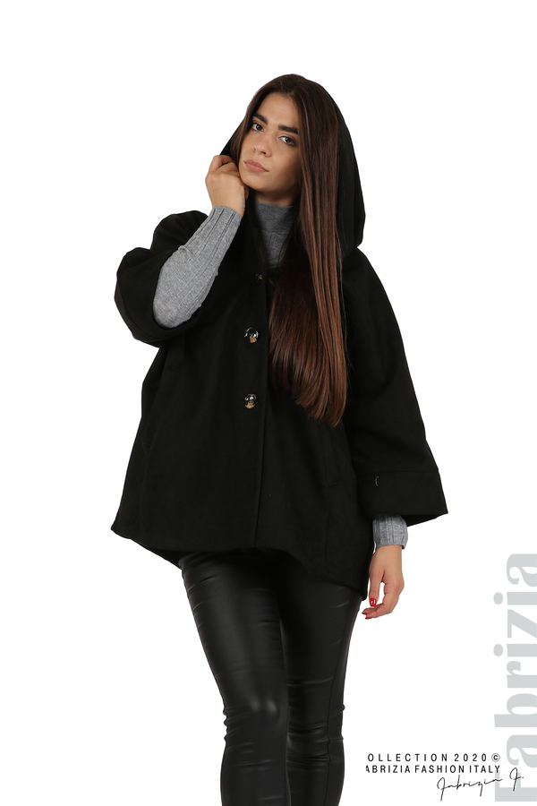 Свободно палто с качулка и 3/4 ръкави черен 1 fabrizia