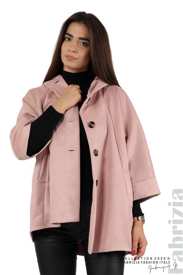 Свободно палто с качулка и 3/4 ръкави розов 2 fabrizia