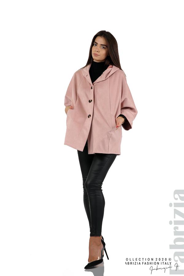 Свободно палто с качулка и 3/4 ръкави розов 3 fabrizia