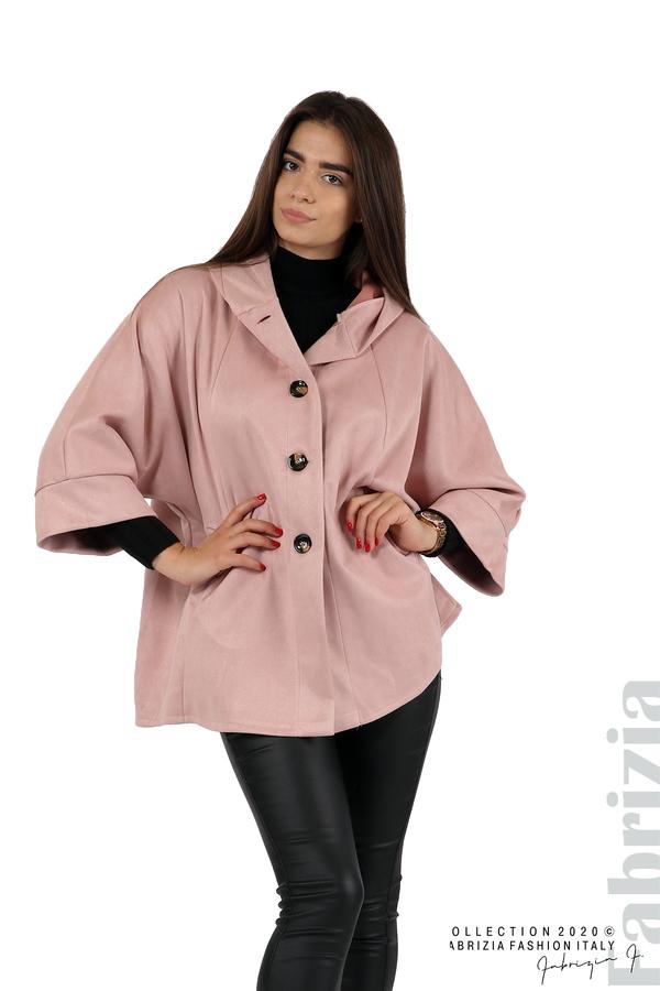 Свободно палто с качулка и 3/4 ръкави розов 1 fabrizia