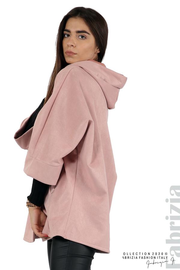 Свободно палто с качулка и 3/4 ръкави розов 5 fabrizia