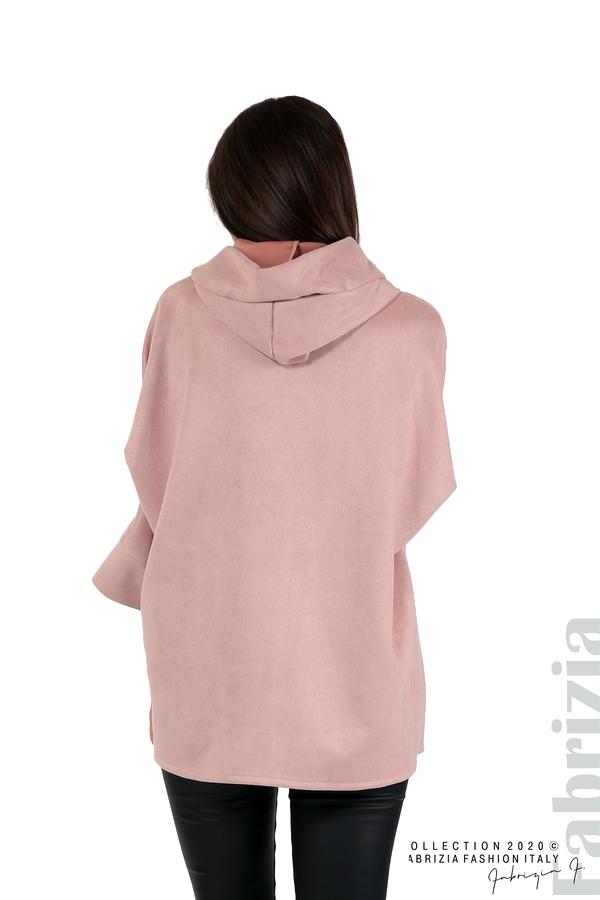 Свободно палто с качулка и 3/4 ръкави розов 6 fabrizia