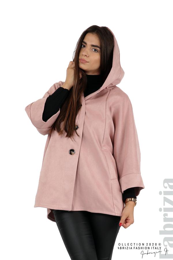 Свободно палто с качулка и 3/4 ръкави розов 4 fabrizia