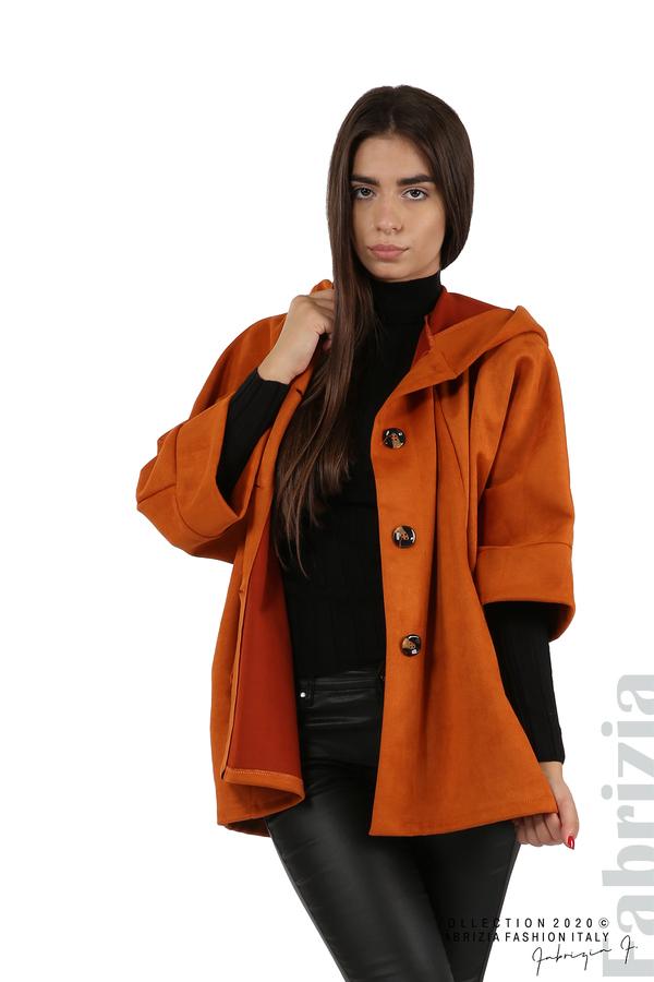 Свободно палто с качулка и 3/4 ръкави оранж 1 fabrizia