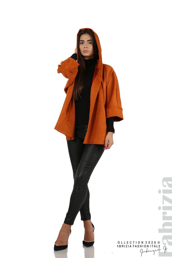 Свободно палто с качулка и 3/4 ръкави оранж 3 fabrizia
